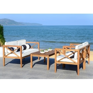 Shop Safavieh Outdoor Living Cushioned Brown Acacia Wood 4 ... on Safavieh Outdoor Living Montez 4 Piece Set id=26050
