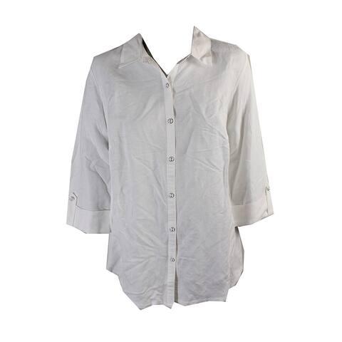 Jm Collection White Linen Button Down Shirt M