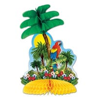 """Club Pack of 12 Multi-Colored Tropical Island Honeycomb Tissue Centerpiece Party Decorations 12"""""""