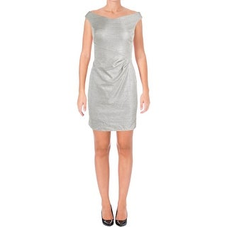 Lauren Ralph Lauren Womens Petites Cocktail Dress Ruched Sheath