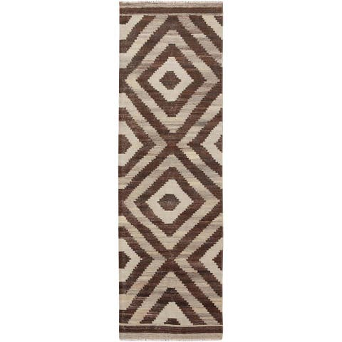 """Hand Knotted Brown Flat Weave with Wool Oriental Rug (2'10"""" x 10'1"""") - 2'10"""" x 10'1"""""""