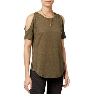 Sanctuary Womens Lolita Casual Top Linen Cold Shoulder
