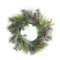 "28"" Mixed Long Needle Pine and Pine Cone Artificial Christmas Wreath - Unlit - green"