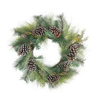 "28"" Mixed Long Needle Pine and Pine Cone Artificial Christmas Wreath - Unlit"