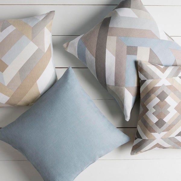 """20"""" Vibrantly Colored Geometric Patterned Indoor Square Throw Pillow - Down Filler"""