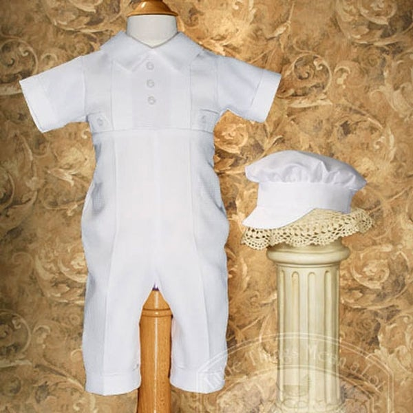 Baby Boys White Classic Christening Outfit and Hat Set 0-12M