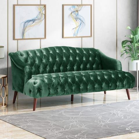 Adelia Modern Glam Tufted Velvet 3-seat Sofa by Christopher Knight Home