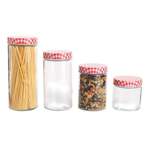 Anchor Hocking 4-Piece Glass Jar Set with Gingham Lids, Clear-Red - Red