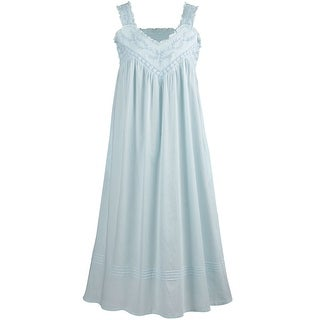 La Cera Cotton Chemise - Lace V-Neck Nightgown with Pockets Nightgown (More options available)