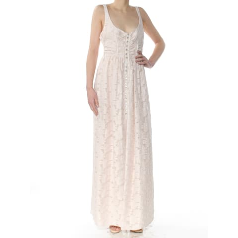 2241d18f157 FREE PEOPLE Womens Ivory Daisy Embroidered Sleeveless Scoop Neck Maxi  Evening Dress Size  2