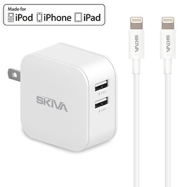 Skiva PowerFlow 2-Port 4.8A Dual USB SmartIC Fast Travel Wall Charger with 2 units of 3.2ft Apple MFi Certified Lightning Cables