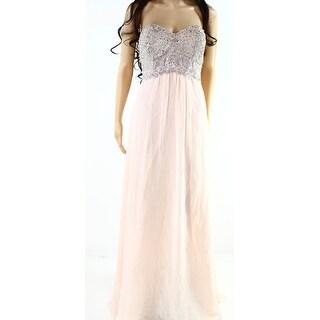 Betsy & Adam NEW Blush Pink Womens Size 8 Embellished Chiffon Gown