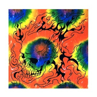 Tie Dye Flaming Skull Wall Hanging 43 Inch X 40 Inch Dorm Decor
