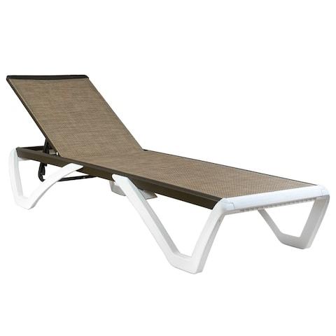 Kozyard Alan Full Flat Aluminum and Polypropylene Resin Legs Patio Reclining Adjustable Chaise Lounge