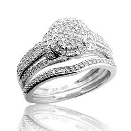 10K White Gold Bridal Wedding Rings Set 10mm Wide 1/2cttw Diamonds (i2/i3, i/j)