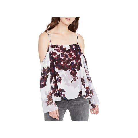 Rachel Roy Womens Blouse Off-The-Shoulder Floral Print