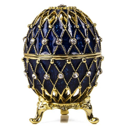 Imperial Faberge Openwork Mesh Egg / Jewelry Box in Blue