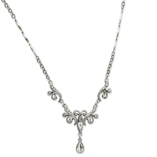Silvertone Swarovski Crystals Teardrop Necklace - 15in
