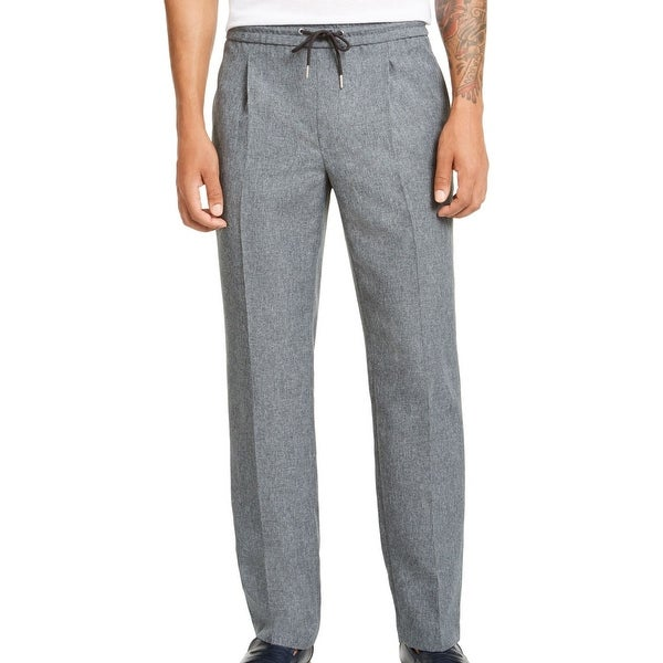 Alfani Mens Pants Melange Gray Large L Drawstring Inverted-Pleat Stretch. Opens flyout.
