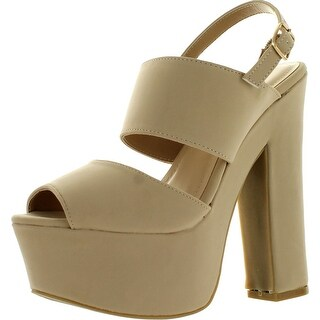 Bamboo Womens Leela-05 Peep Toe Slingback Platform Chunky Heel Dress Sandals