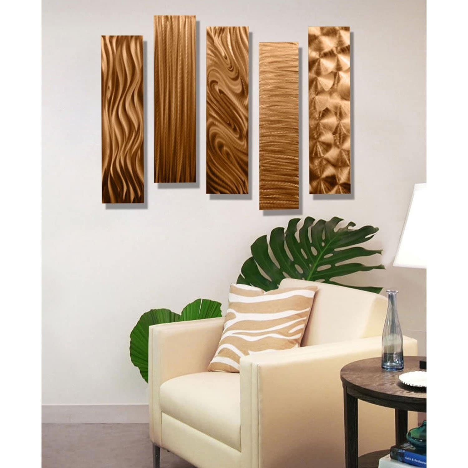 Statements2000 3d Metal Wall Art Accent Panels Modern Copper Decor By Jon Allen Set Of 5 5 Easy Pieces Copper Overstock 12455967