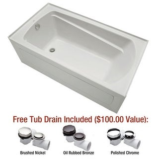 "Mirabelle MIRBDA6032L Bradenton 60"" X 32"" Three-Wall Alcove Air Bath Tub with Le - White"