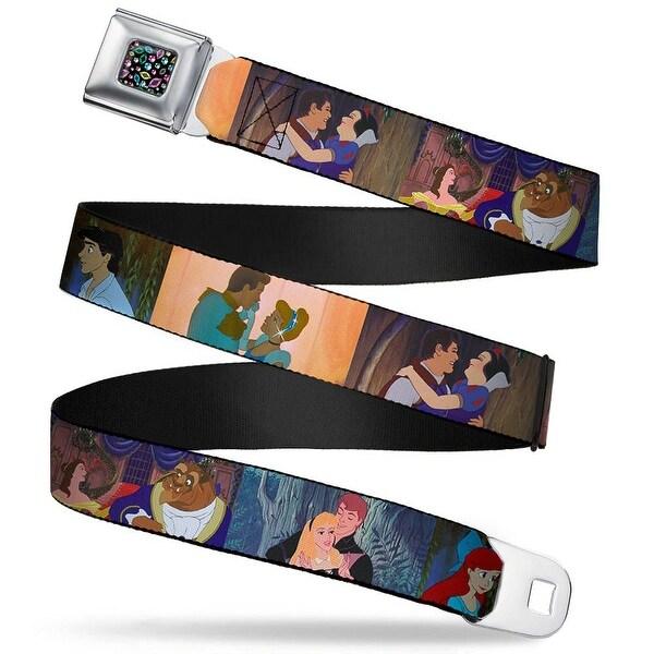 Princess Jewels Full Color Black Multi Color Disney Princess Scenes Framed Seatbelt Belt