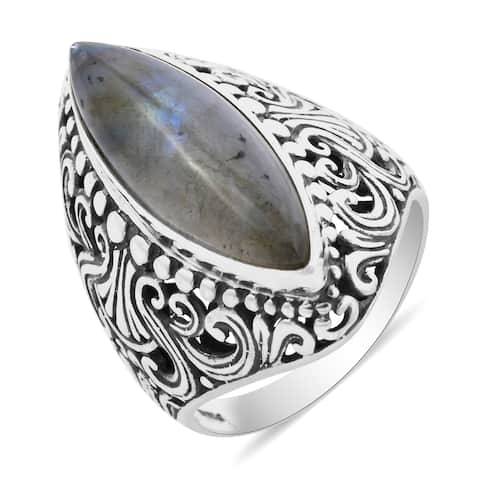 Shop LC 925 Sterling Silver Labradorite Engagement Ring Ct 8.5