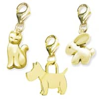 Julieta Jewelry Dog, Cat, Bunny 14k Gold Over Sterling Silver Clip-On Charm Set