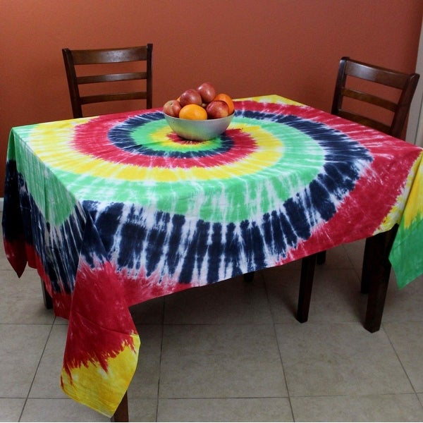 Tie Dye Tablecloth Rectangular Tapestry Cotton 60 X 90 Inches Yellow Red  Blue   90 Inches