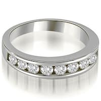 1.10 CT.TW Classic Channel Set Round Cut Diamond Wedding Ring in 14KT - White H-I