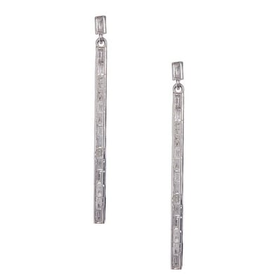 Sterling Silver Baguette Bar Earring - White