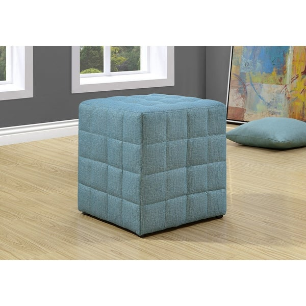 """17"""" Light Blue Foam, Solid Wood, and Polyester Ottoman"""