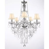 5 Light Chrome & Crystal Chandelier Lighting With White Shades