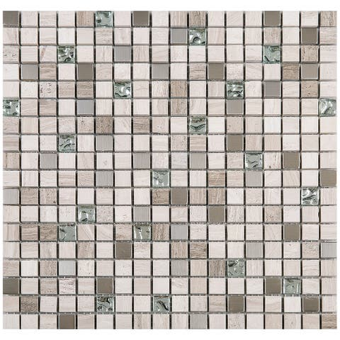 "TileGen. Mini Tiny 0.6"" x 0.6"" Marble Mosaic Tile in Beige/Silver Wall Tile (10 sheets/9.6sqft.)"