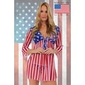 Women's USA Flag Long Sleeve Beach Dress Swimwear Bikini Cover Up - Thumbnail 2