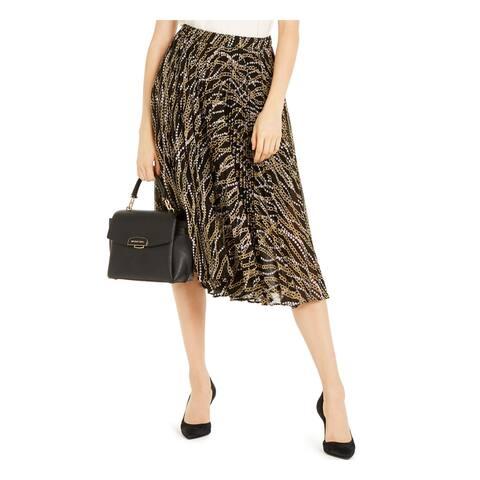 MICHAEL KORS Womens Black Below The Knee Knife Pleated Skirt Size S