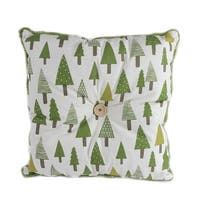 """15"""" Forest Green Tree Print Rustic Woodland Decorative Christmas Throw Pillow - WHITE"""