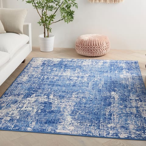 Nourison Whimsicle Modern Distressed Abstract Blue Ivory Area Rug