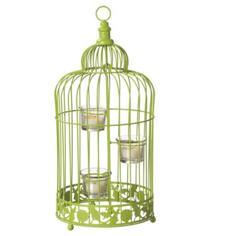 "17"" Fancy Fair Contemporary Style Lime Green Birdcage Tea Light Candle Holder"