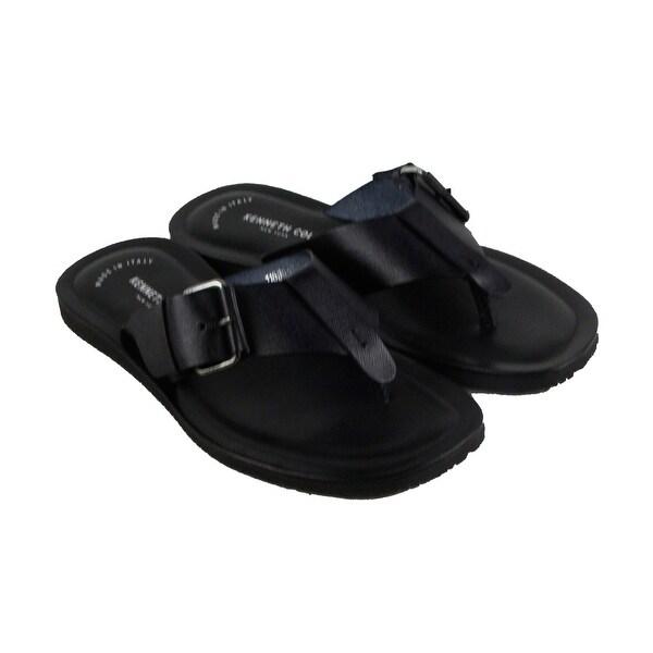 Kenneth Cole New York Design 10839 Mens Black Leather Flip Flop Sandals Shoes