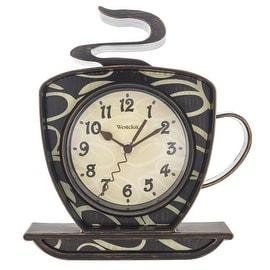 "Westclox 32038 Coffee Time Wall Clock, Brown, 9.5"""