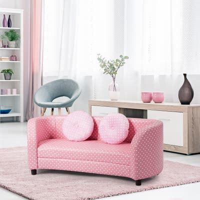 Double Seat Pink Armrest Sofa w/ 2 Cloth Comfortable Pillow for Kids