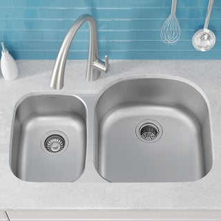 Link to KRAUS Premier Stainless Steel 32 inch 2-Bowl Undermount Kitchen Sink Similar Items in Sinks