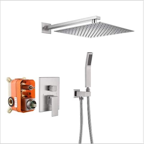 12 Inch Square Rainfall Mixer Shower Combo Set Wall Mounted
