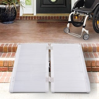 HOMCOM Aluminum Foldable Lightweight Ramp with Side Walls and Carry Handle for Wheelchair Mobility Assistance (3')
