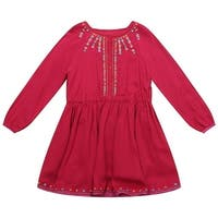 Richie House Baby Girls Red Cotton Ethnic Floral Embroidered Dress 24M