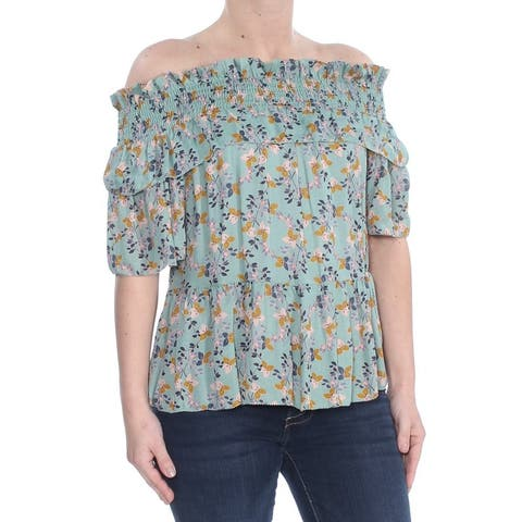 WILLIAM RAST Womens Green Ruffled Floral Off Shoulder Top Size: XS