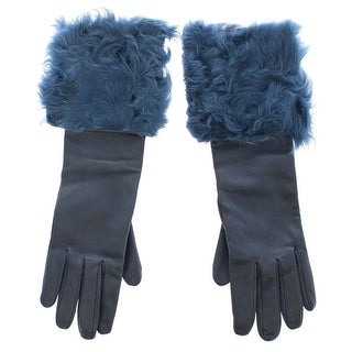 Dolce & Gabbana Blue Lambskin Leather Fur Logo Wrist Gloves