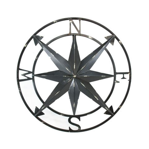 20 Inch Distressed Metal Compass Rose Nautical Wall Decor Indoor or Outdoor Wall Decor, Black